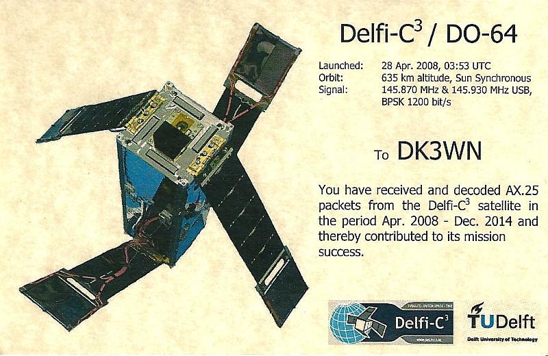 Delfi-C3 QSL