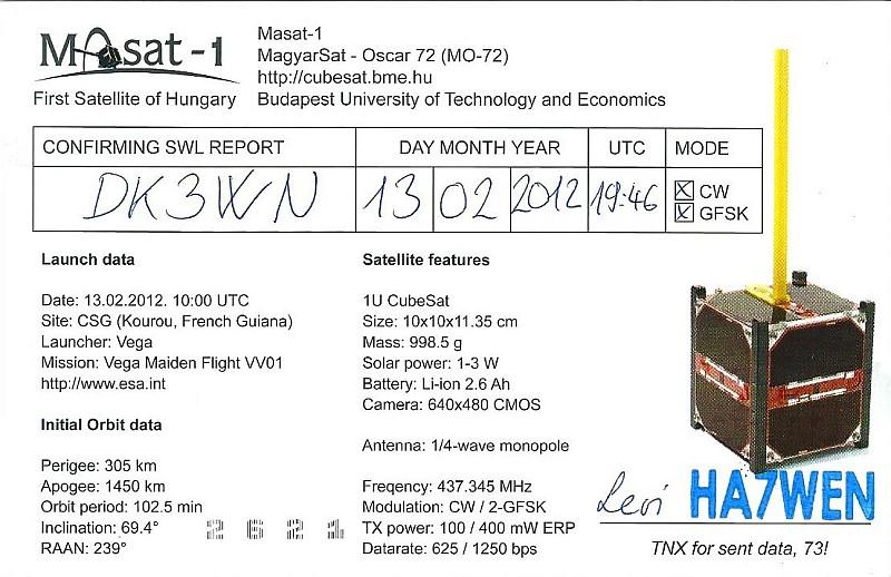 Mike Rupprecht - Amateurfunk - MaSat-1