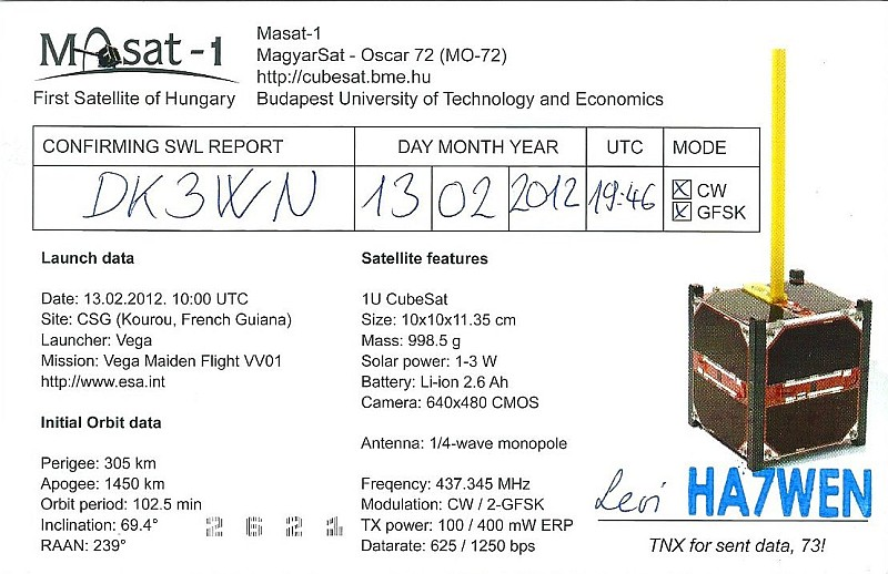 MaSat-1 QSL back