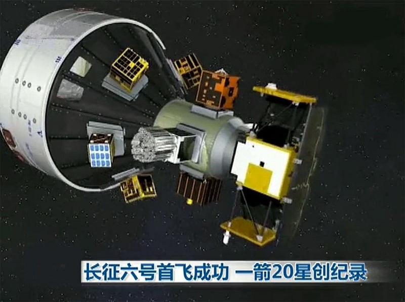 schematic view of twenty satellites in rocket