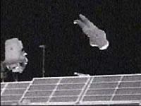 SuitSat Release (c) NASA TV