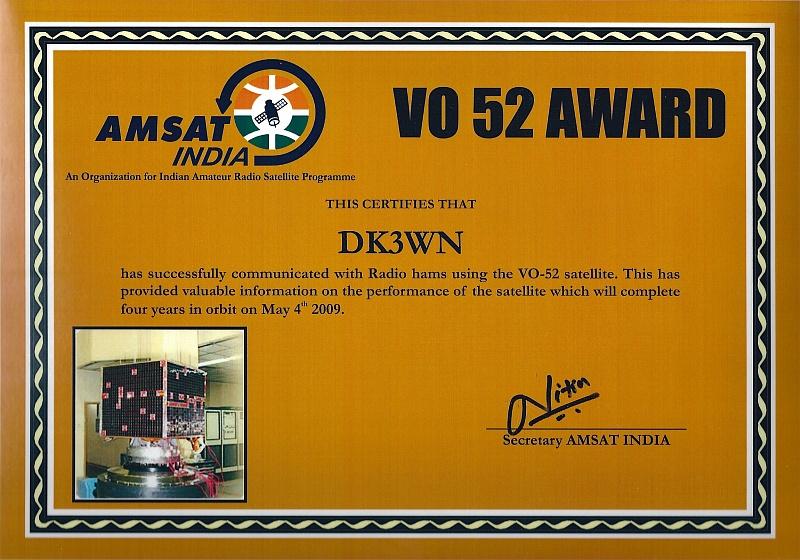 HAMSAT VO-52 Award
